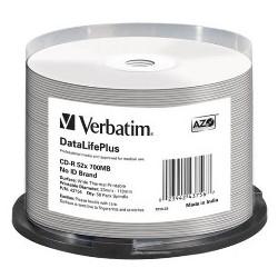 CLOCHE 50 CD-R VERBATIM - 700MB - 52X  - IMPRIMABLES THERMIQUE
