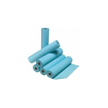 DRAP EXAMEN - PLASTIFIE - BLEU - 60  FORMATS 50x120cm CARTON DE 6 ROULEAUX
