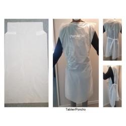 Tablier Poncho 25 microns - 70 x 120cm - blanc - carton de 250