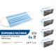 Masque 3 plis bleu/barette/élastiques/très haute filtration Type II 98%