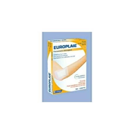 PANSEMENT STERILE EUROPLAIE AVEC COMPRESSE NEUTRE ABSORBANTE 50x72mm BOITE DE 100