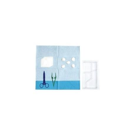 SET PANSEMENT 4 ALVEOLES 1 KOCHER 1 ANATOMIQUE - CHAMP 38x45cm 5 BOULES NT20x20/5 COMPRESS 7,5x7,5
